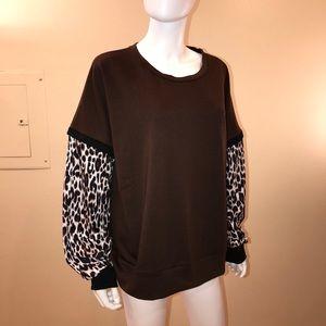Dorose Brown Leopard Print Pullover Top
